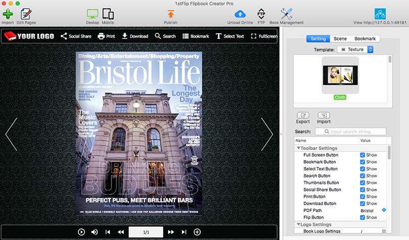 1stFlip Flipbook Creator Pro for Mac Screen shot