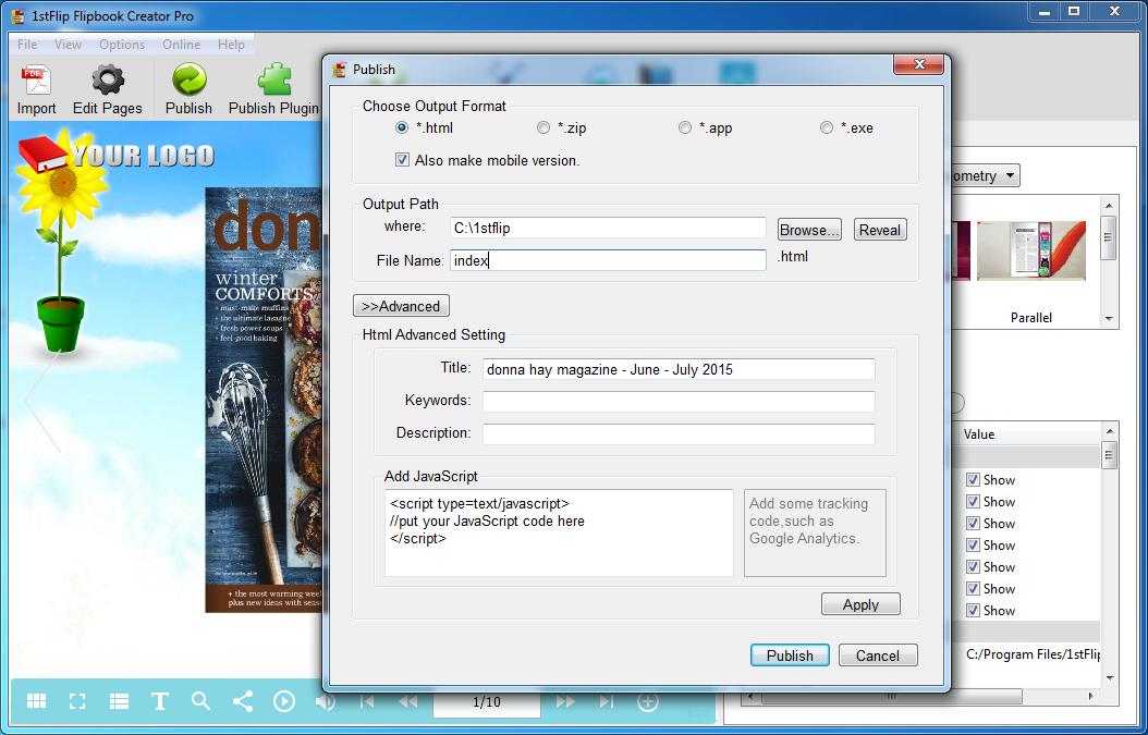How to create HTML5 flipbook on Windows with 1stFlip