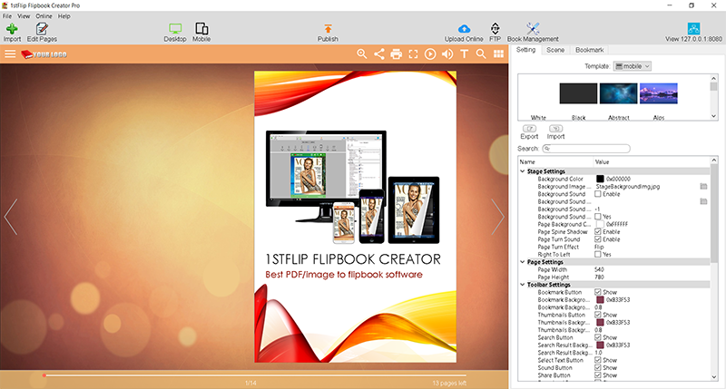 1stFlip Flipbook Creator Pro for Windows Screen shot